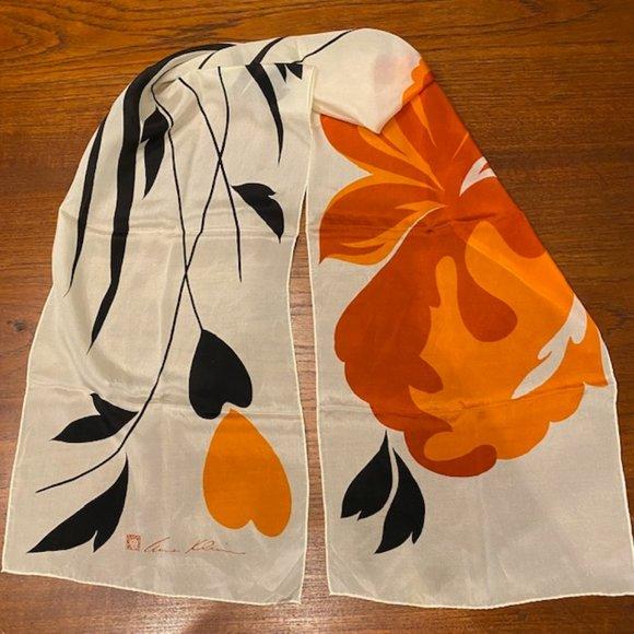 Vintage Anne Klein Rolled Edge Silk Scarf Flower